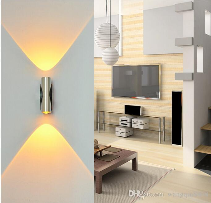 Lámpara de pared 4W AC85-265V LED moderna y creativa de pared montada en LED con decoración de aluminio para sala de estudio