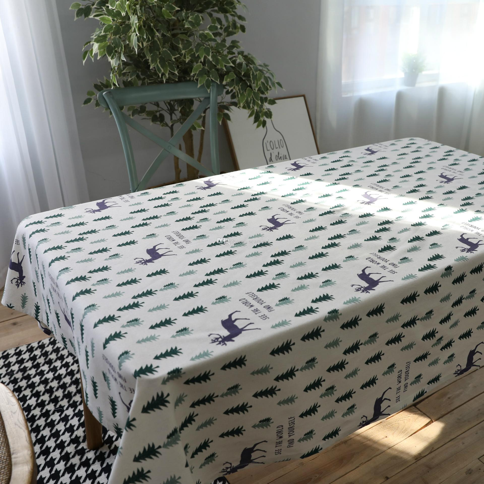 Simple Fresh Linen Cotton Table Cloth Country Style Christmas Tree Solid  Multifunctional Rectangle Table Cover Tablecloth Picnic Blanket Small  Tablecloths ...