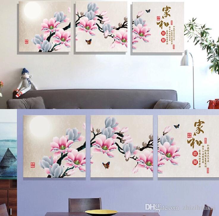 3 Unidades Envío gratis Pintura de Pared Imagen de Arte Pintura en Lienzo Impresiones flor en maceta caracteres chinos poesía proverbio de luna Caligrafía