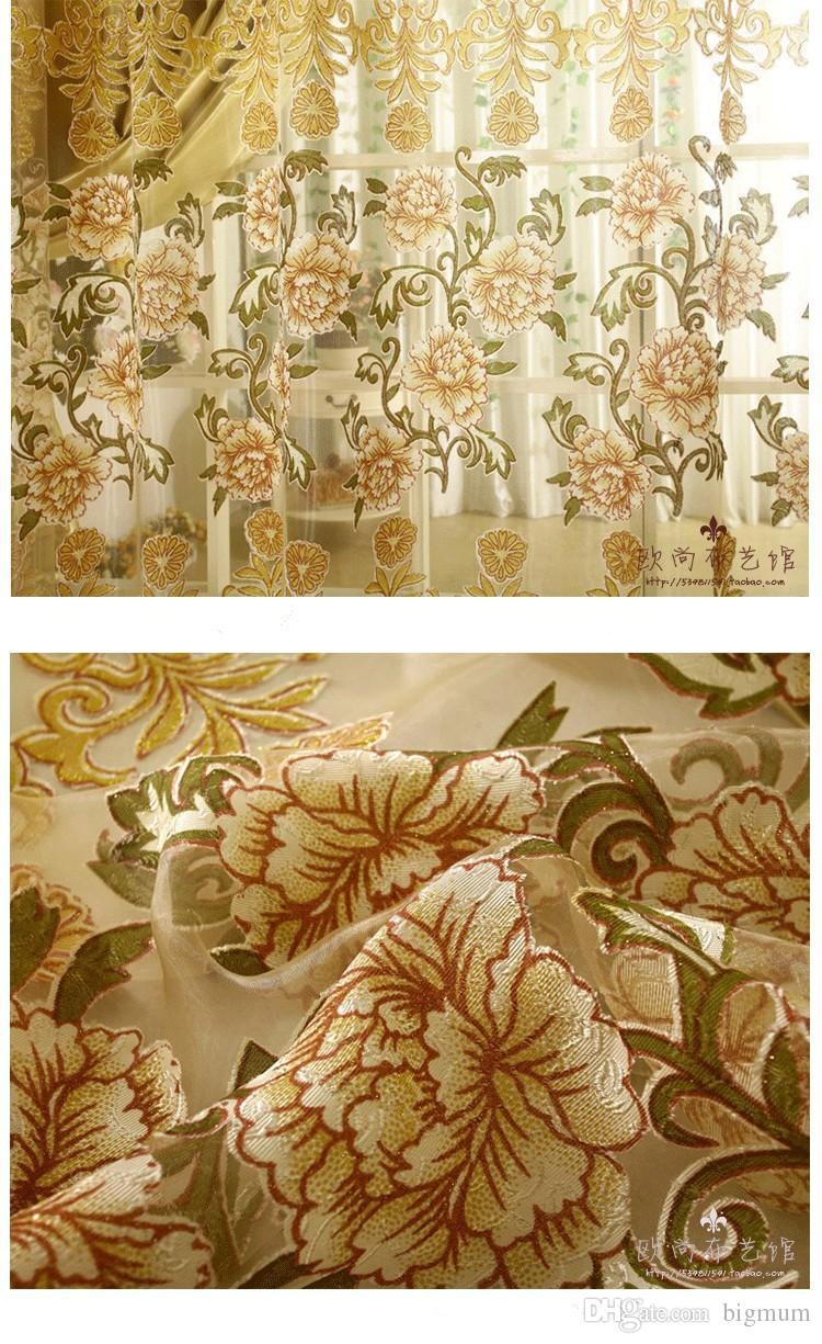 Luxo Voile Cortinas + Blackout Cortinas Para Sala de estar Personalizado Pronto Feito Tratamento de Janela / Cortinas De Verde / Roxo / Dourado