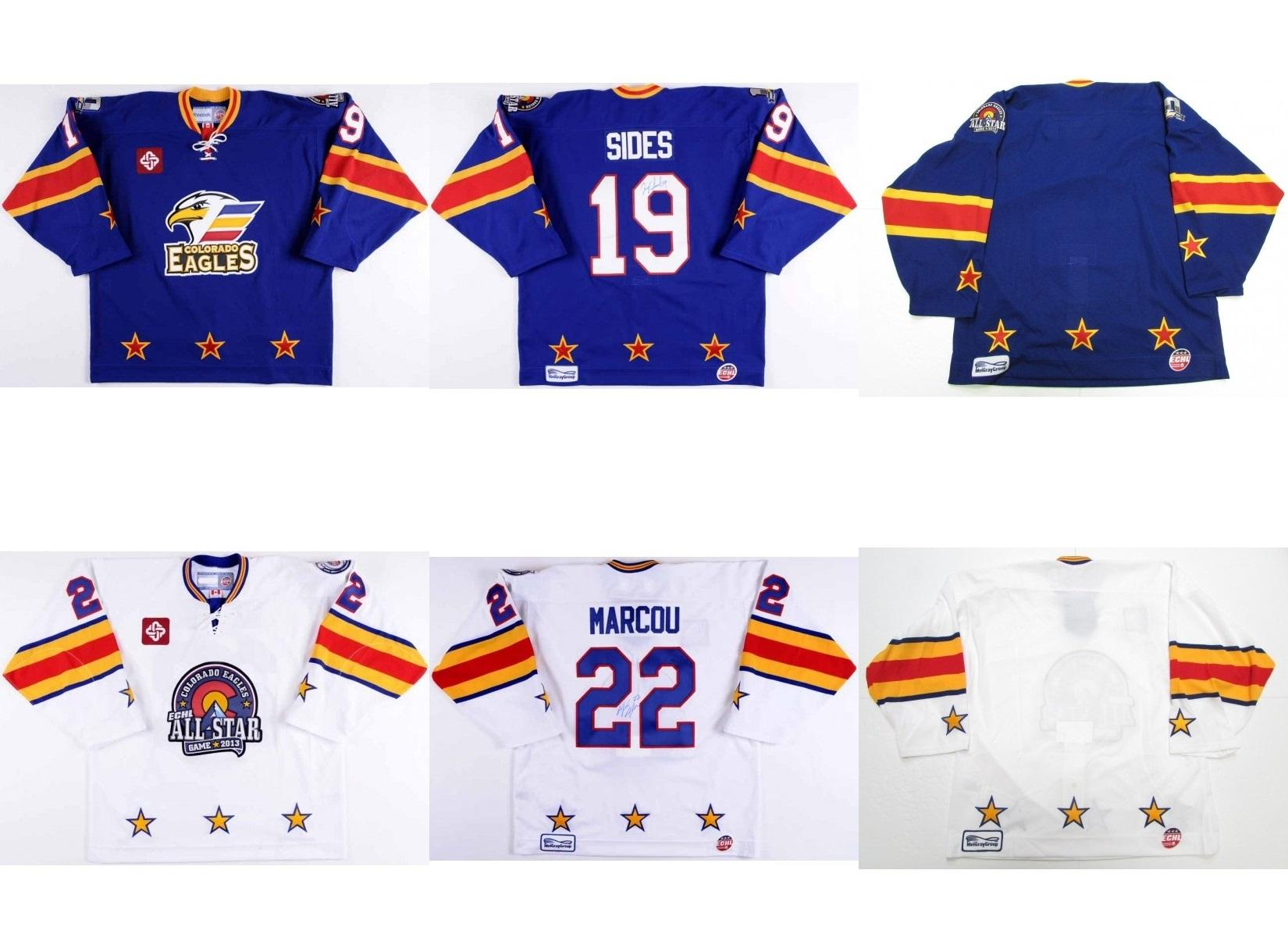 Mens Womens Kids Customize ECHL Colorado Eagles 19 Joey Sides 22 Marcou All  Star 100% Embroidery Cheap Hockey Jerseys Goalit Cut UK 2019 From Since a9482744c