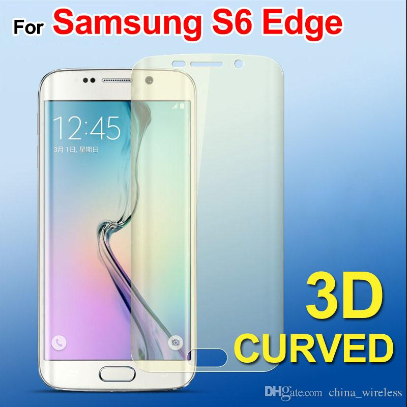 3D Curvo superfície totalmente coberta protetor de tela de Cor Frente de volta Samsung Galaxy S6 borda S6 borda mais nota borda protetor de tela colorida