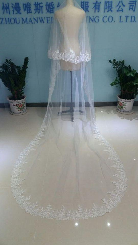 2019 Cathedral Bridal Veils Long Appliqued High End Tulle Beaded Two Layers Charming White Wedding Veils Custom-Made Blusher Bridal Veil