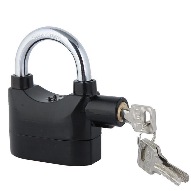 Candado de alarma antirrobo Anti-perdido Home Security Door Motor Bike Candado de bicicleta 120dB con 3 llaves negro en caja al por menor