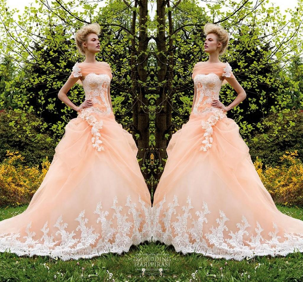 Peach wedding dress wedding decor ideas peach ball gown wedding dress fashion dresses junglespirit Choice Image