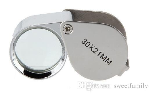 New Mini 30X 30x21mm Loupe Magnifier Folding Magnifying Triplet Jewelers Eye Glass Jewelry Diamond Currency Detecting ZA2808
