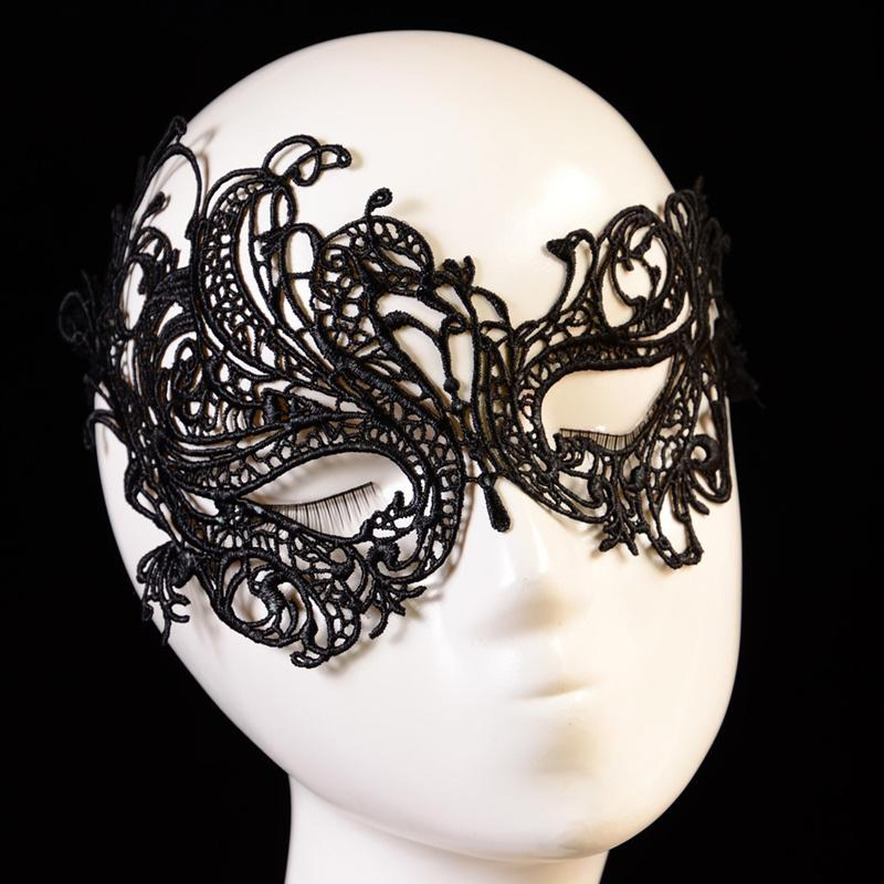 Retro lace mask sexy flower Masquerade Mask women makeup black Asymmetry half face mask Goggles for Banquet nightclub Party mask 110038