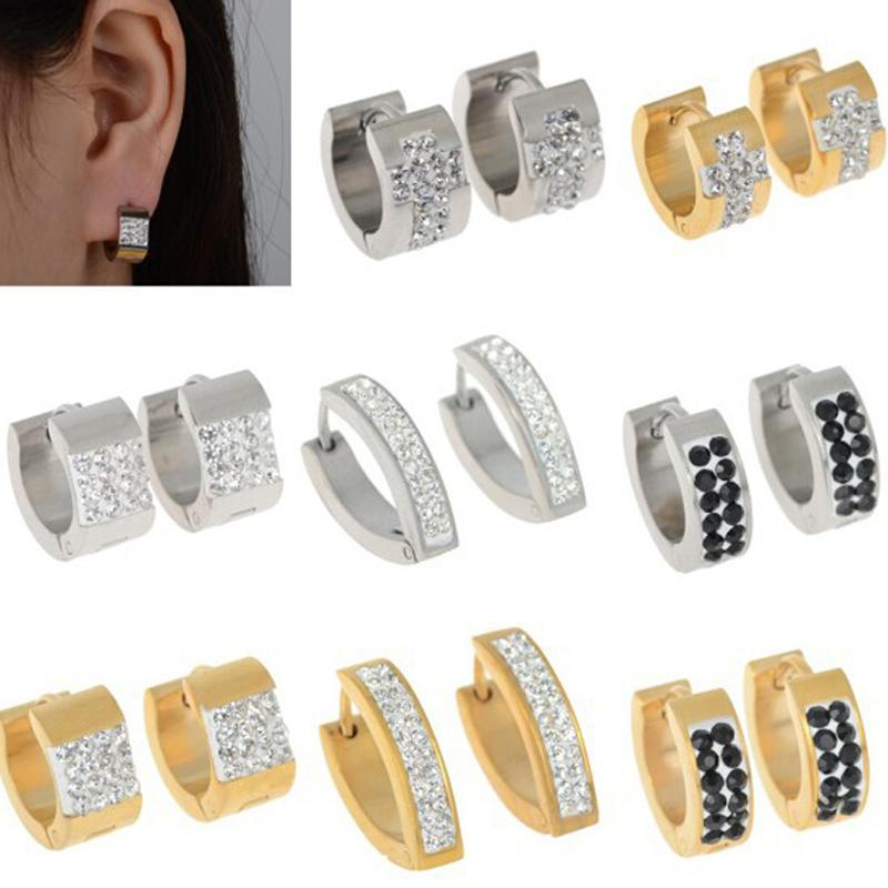 f7f5c1f725a21 Wholesale- Fashion Stainless Steel Crsytal Hoop Earrings For Men Womens  Cross Hoop Huggie Earring Jewelry Free Shipping