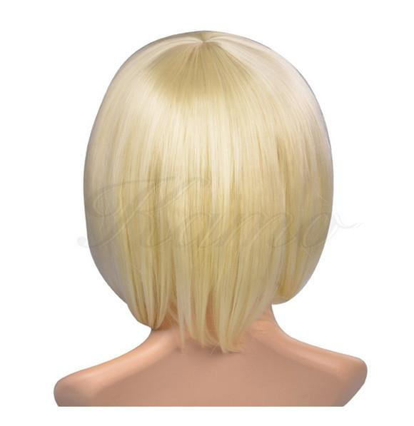 WoodFestival mulheres curto bob peruca resistente ao calor fibra de cabelo perucas loira natural barato peruca senhoras da moda peruca reta sintética