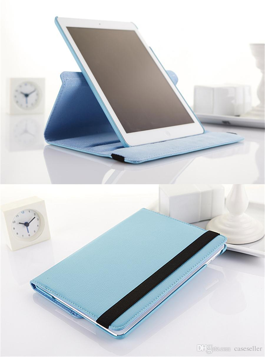 360 Degree Rotating Lichee PU Leather Case Stand Cover for iPad Mini 1 2 3 4 iPad Air Air2 pro 9.7 Samsung Tab TabS TabA
