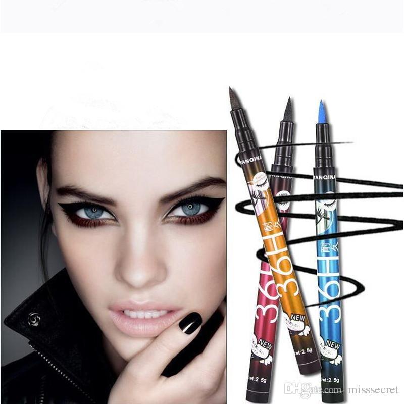 새로운 4 색 YANQINA 36H 메이크업 아이 라이너 연필 / set 방수 블랙 메이크업 아이 라이너 펜 아니오 블루밍 정밀 액체 아이 라이너 펜