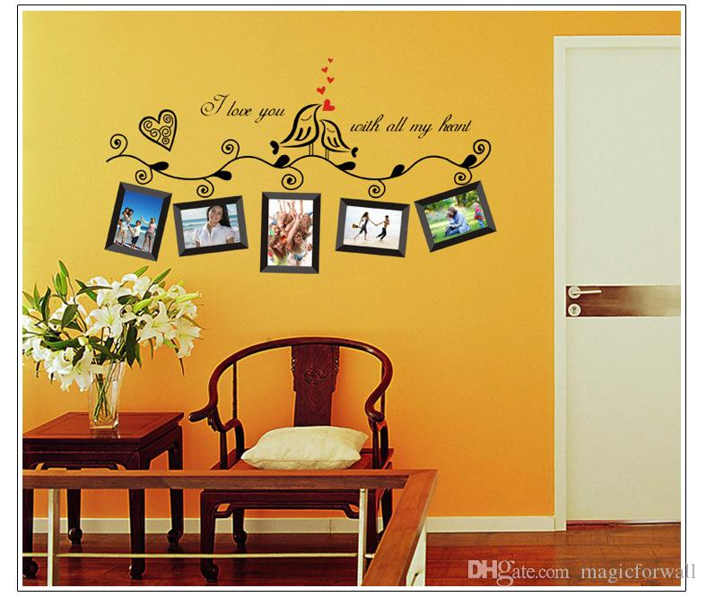 Loving Birds onTree Branch Wall Art Sticker Decor Decal I Love you with all my heart Wall Quote Mural Sticker Wall Picture Decoration