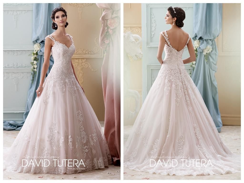 Tea Rose Ball Gown Wedding Dresses 2015 Sweetheart Cap Sleeves Beaded Lace Appliques Covered Button Bridal Gowns Chapel Train Arwen 215277