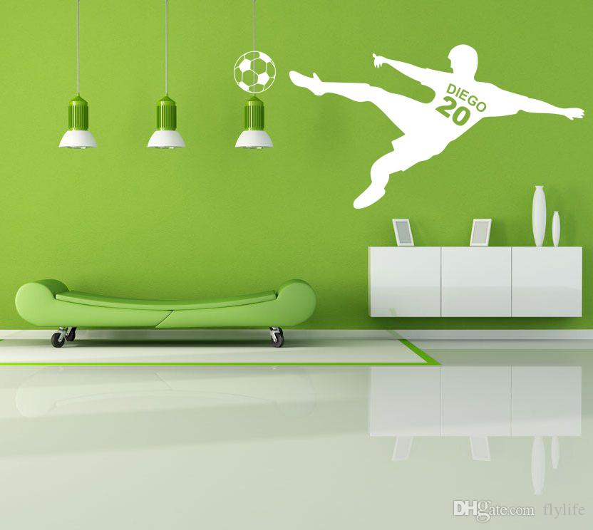Vinyl Soccer Wall Decal With Personalized Name and Number for Boys Room Decor
