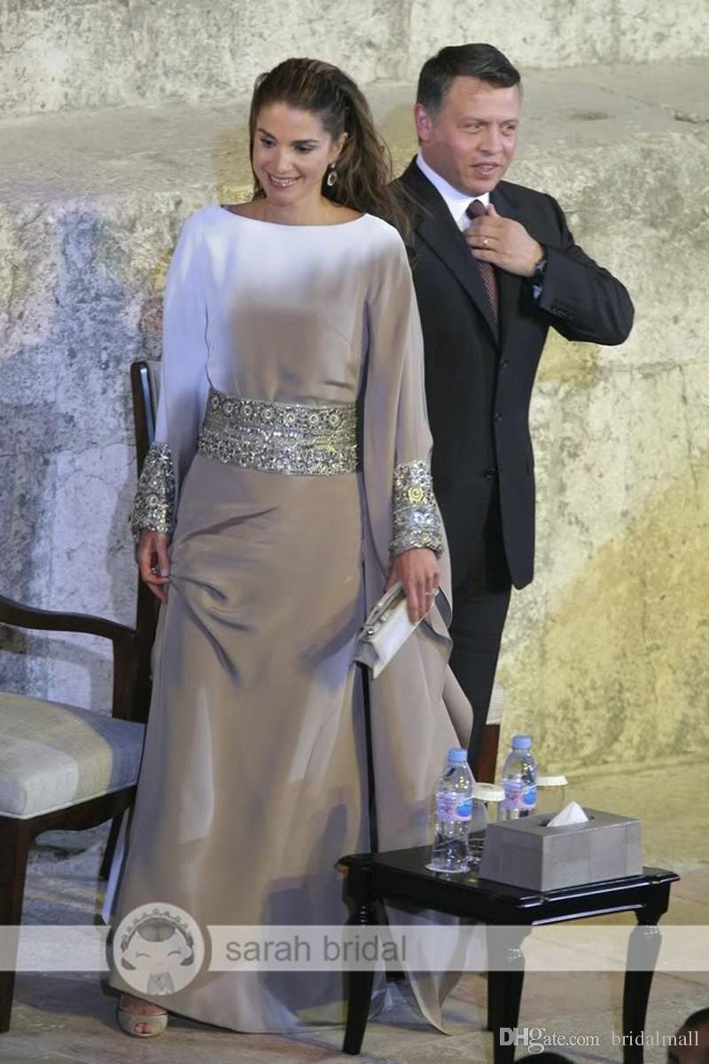 Srebrne Długie Rękawy Muzułmańskie Suknie Wieczorowe Z Kryształami Sash Arabski Porm Sukienka Islamska Abaya Marokańska Dubaj Kaftan Formalne suknie wieczorowe