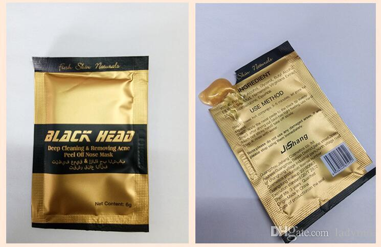 DHL Gold Color Facial Minerals Conk Nose Blackhead Deep cleaning Removing Acne Peel Off Nose mask Black Head EX Pore Strip
