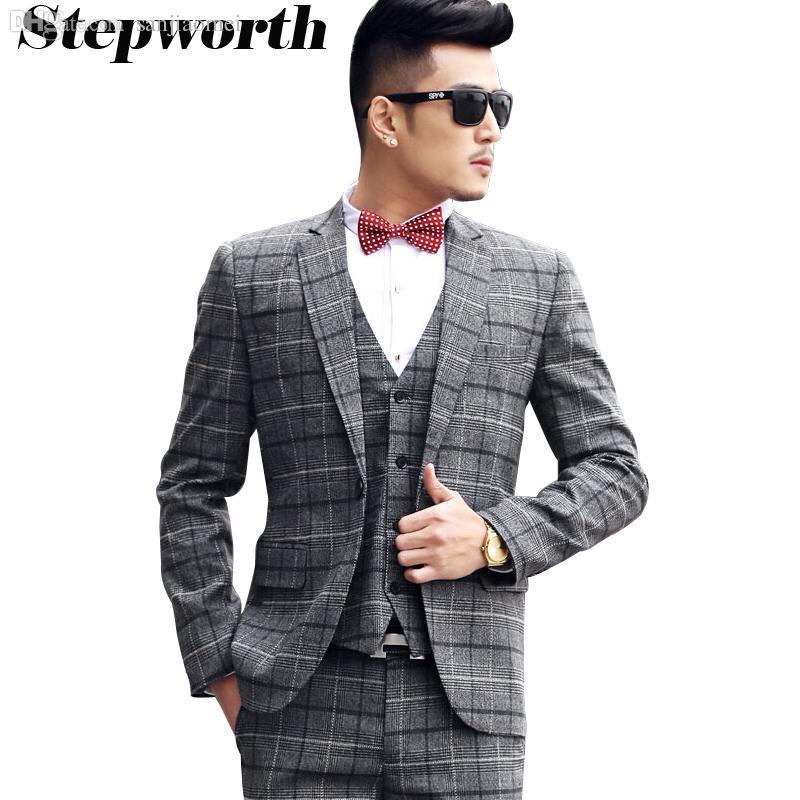 Online Cheap Wholesale Jacket Pant Vest Dark Grey Plaid Suit ...