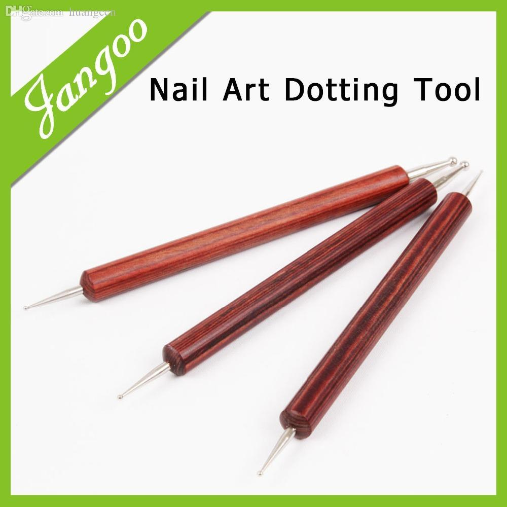 Wholesale 2 Way Nail Art Tip Dotting Pen Red Wood Tools Manicure ...