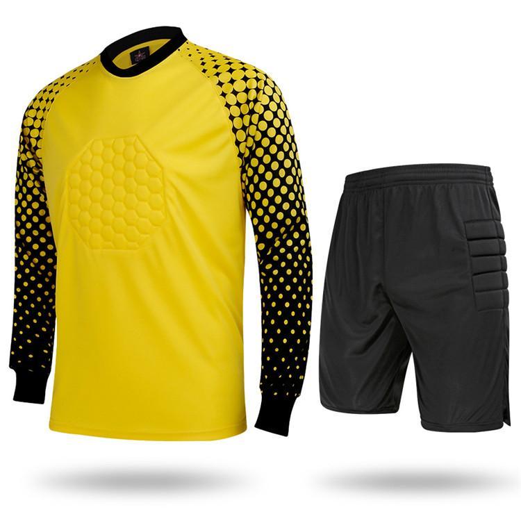 Camisas de camisola dos homens de Futebol Goleiro Camisa de Manga Longa Calças Curtas Atlético Adulto Camisa de Futebol de Futebol Roupas de Treinamento de Futebol