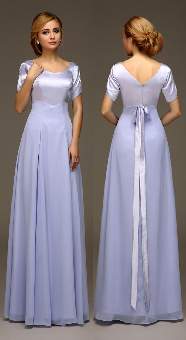 Modest Long Bridesmaids Dresses With Short Sleeves Lavender ...