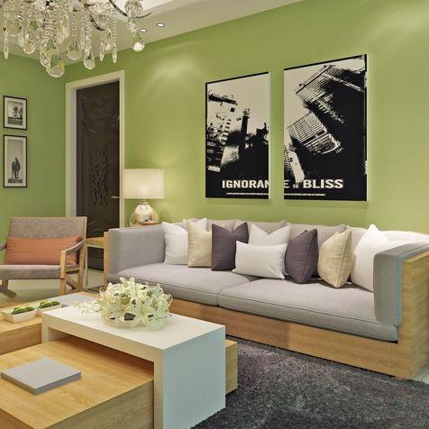 Grass Green Modern Minimalist Living Room Bedroom Wallpaper Plain