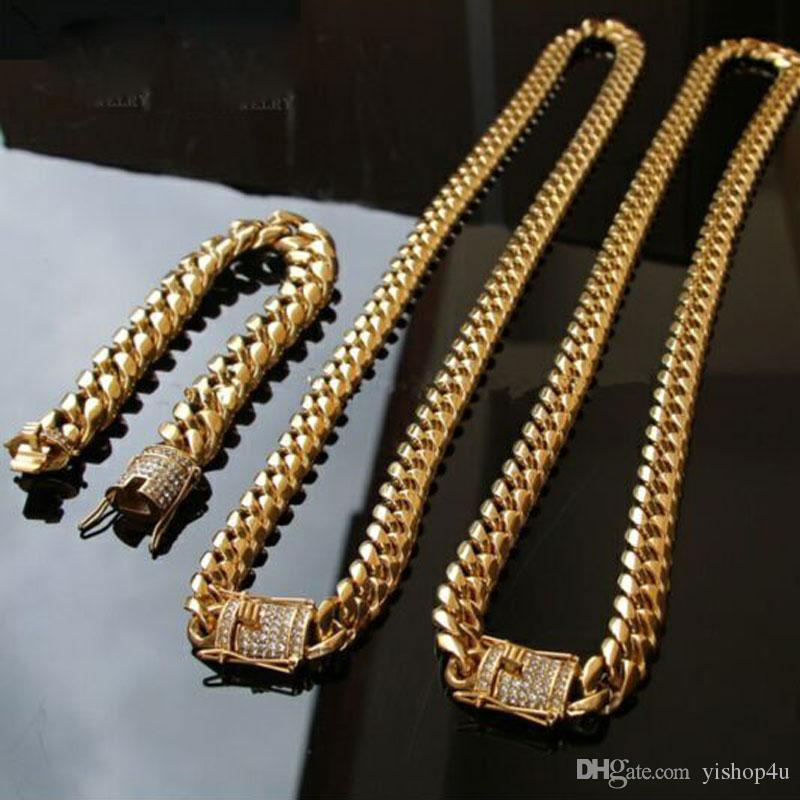 2019 14mm Cool Mens Chain Gold Tone 316l Stainless Steel