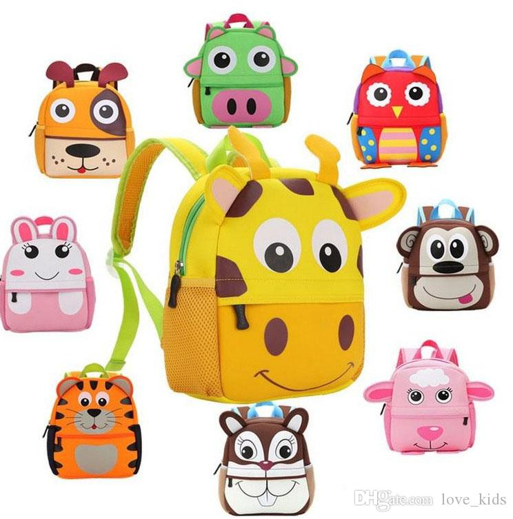 10 Estilo Crianças 3D Projeto Animal Bonito Mochila Criança Criança Neoprene Sacos De Escola Do Jardim De Infância Dos Desenhos Animados Saco Confortável Coruja Do Macaco Do Girafa
