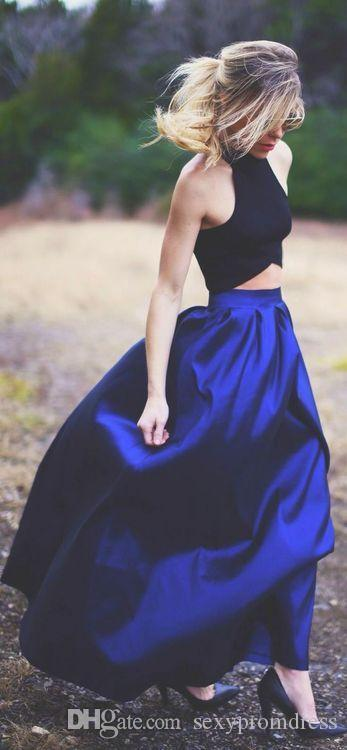 2015 Blue Long Skirts Free Size A-line Floor Length Satin One Layer Best Selling Skirts for Women Lady Cheap Prom Party Skirts