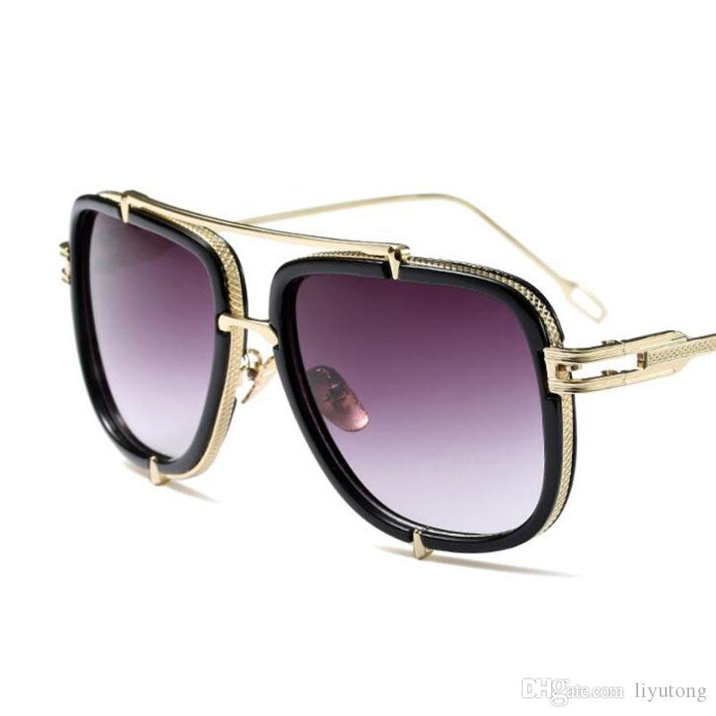 Sunglasses Retro Big Frame Classic Tide Men's Sunglasses,Gold frame,Gradual purple