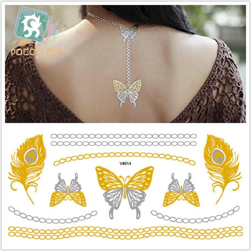 21*10cm Temporary fake tattoos Waterproof tattoo stickers body art Painting for party decoration etc large golden slivery lace
