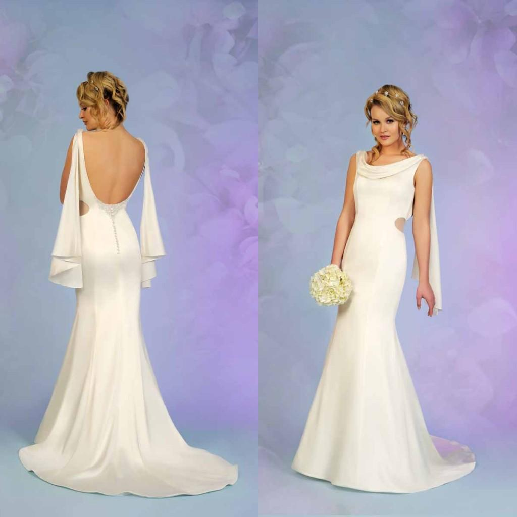 2015 New Pattern Beach Wedding Dresses Open Back Mermaid Draped ...