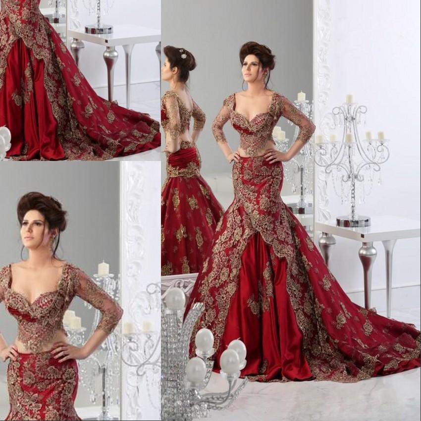 Red And White Wedding Dresses With Sleeves: Gorgerous Red Wedding Dresses With Sleeves Arabic Jajja