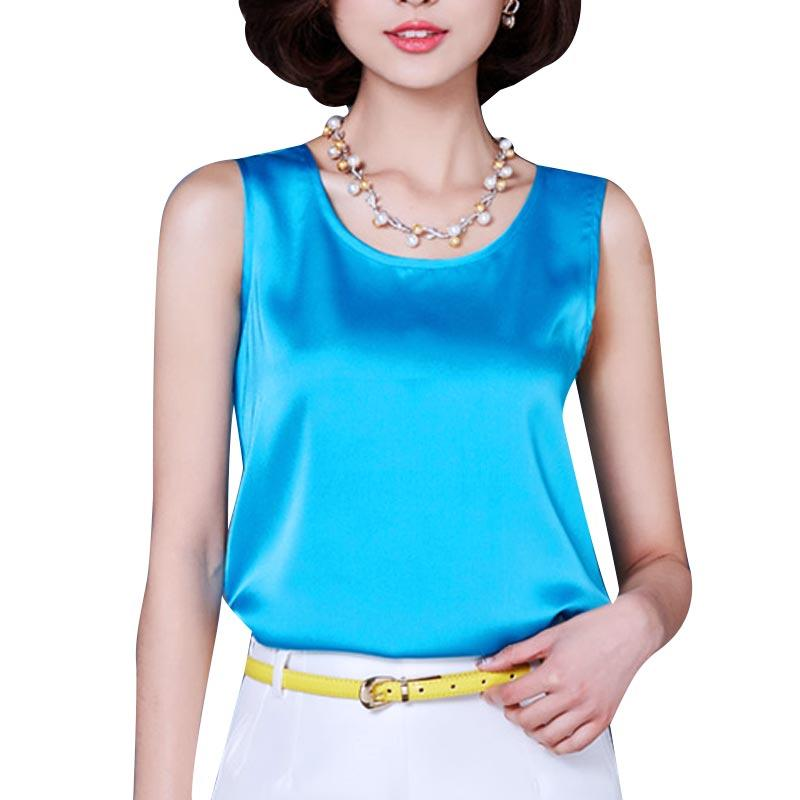 93c52d11a17 X201711 2017 Summer Tank Top Loose Casual Chiffon Solid Sleeveless Vest All- match T-shirts for Women Bright Silk Tops Plus Size High Quality Vest  Holster ...