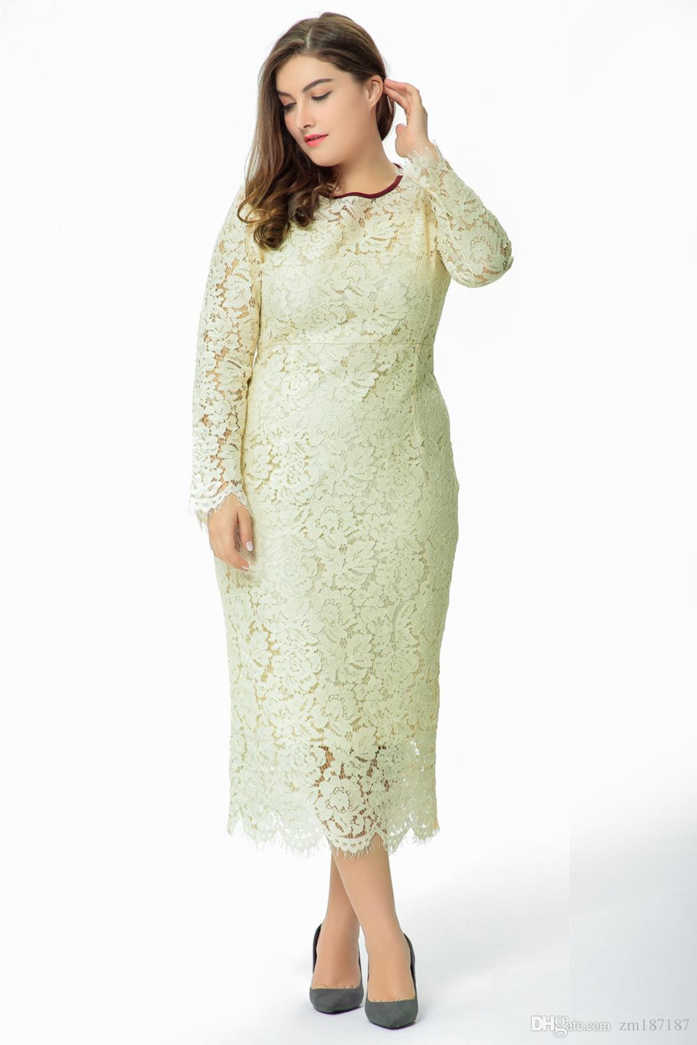 2017 autumn new European and American large-size long-sleeved lace self-cultivation dress in the long section of the dress