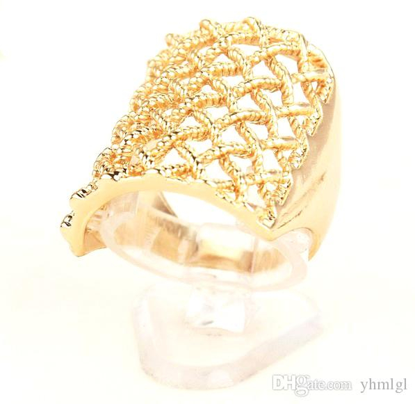 Size 10.0 2015 Women/Men 18k Gold Plated New Designs Square Chic Fashion Ring Jewelry Hot Sale Wholesale