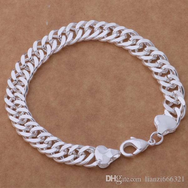 HOT 925 STERLING SILVER PLATED 10MM MEN'S FIGARO BRACELETS Silver Bracelet JEWELRY free shipping with traching number 1800