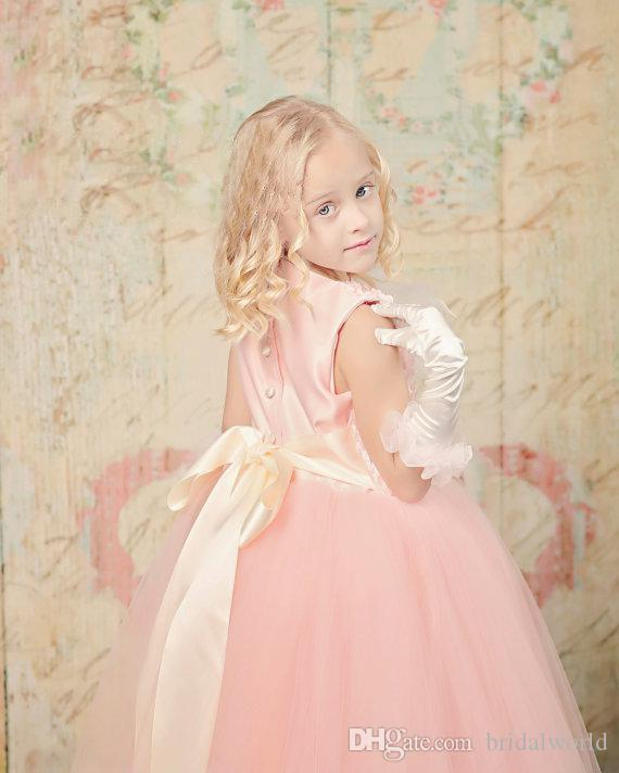 Pink Lovely Flower Girl Feather Hand Made Flower Sash Flower GIrl Dresses For Wedding Ankle Length Jewel Sleeveless Quinceanera Decorations
