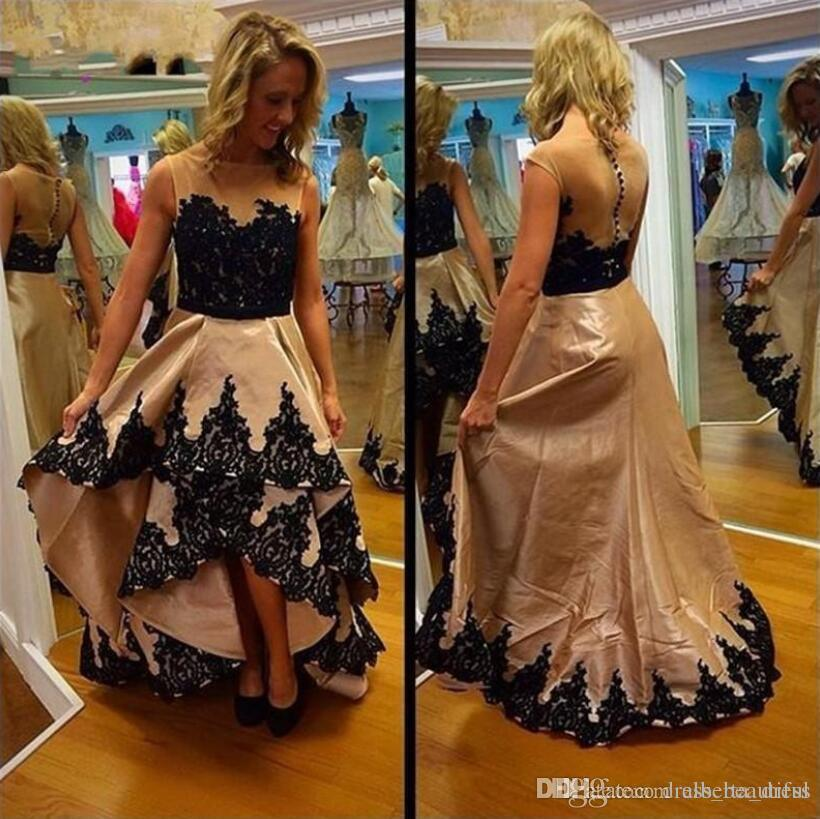 2017 Fancy High Low See Through Back Prom Dresses Black Lace Tiers Skirt Button Back Cheap A-line Aso Ebi Evening Party Dresses
