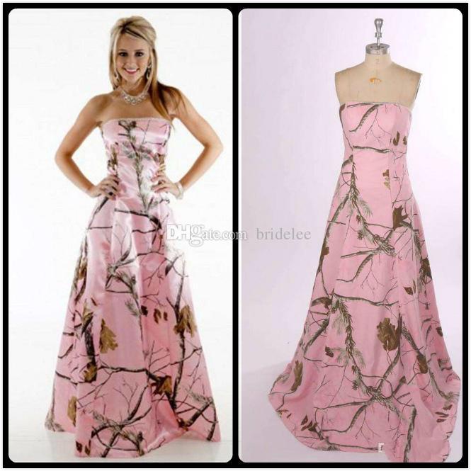 2020 핑크 카모 신부 들러리 드레스 저렴한 Strapless Custmized 신부 들러리 드레스 긴 지퍼 다시 공식 가운 웨딩 파티 드레스