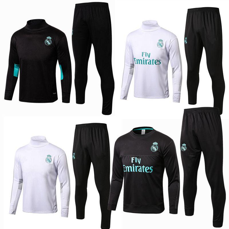 Compre 2017 2018 Calidad Tailandesa Real Madrid Fútbol Chándal Survetement  Pantalones Trajes De Entrenamiento Chaqueta + Pantalones Largos Conjuntos  De ... 33db0ec53376c
