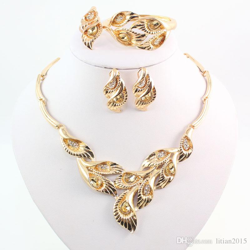 Fashion 18 K Gold Plated Jewelry Sets Leaves Shape African Costume Necklace Set Women Bridal Accessories