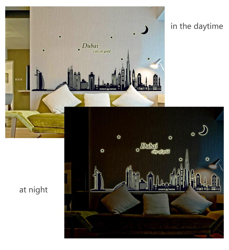Eco-friendly Gran Dubai Fluorescente Luminoso Wall Sticker Resplandor en la Oscuridad Islámica Wall Decals Decoración para el Hogar Wall Art Poster