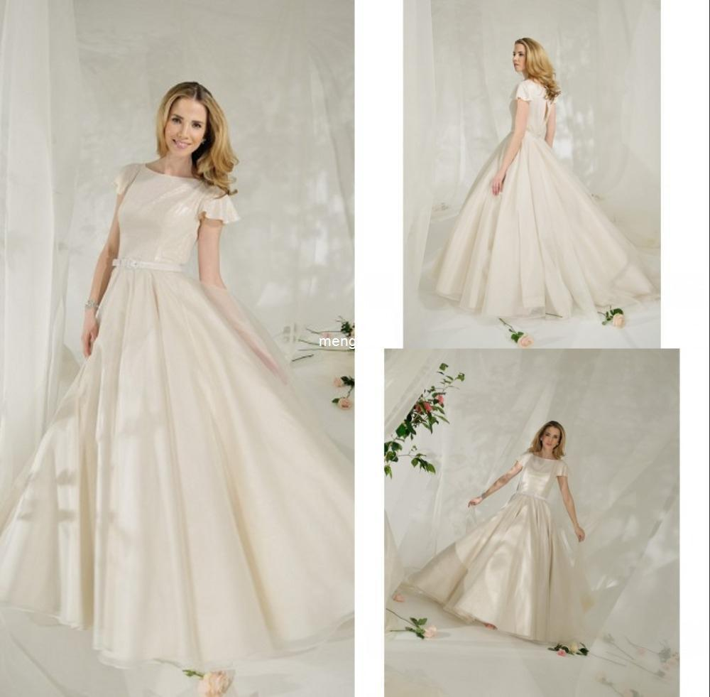 Ruffle Sleeves Elegant Gowns for Bride Petite High Neck Princess ...