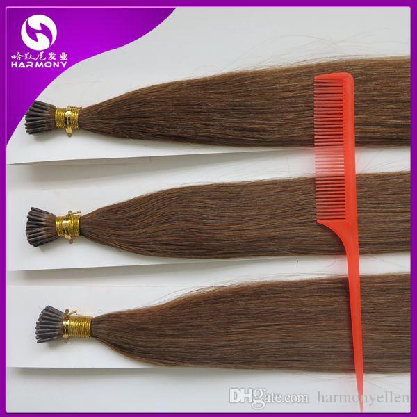 중간 브라운 컬러 팁 각질 머리 확장 사전 보세 버섯 머리 1.0 G 스트레이트 브라질 인간의 머리 50 그램 100 그램 150 그램 200 그램