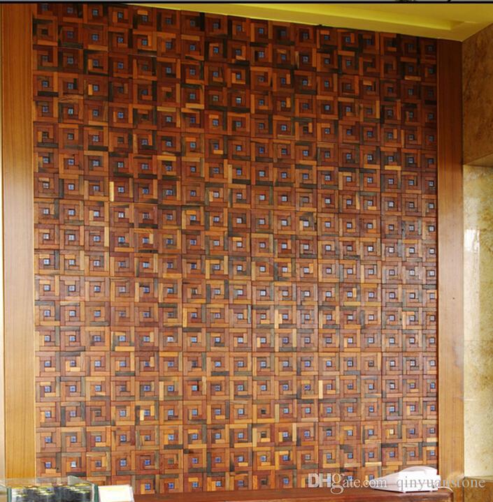Telhas de mosaico de madeira 3D pontos de pedra azul design de interiores telhas da parede materiais de construção home hotel bar restaurante design telha de madeira natural