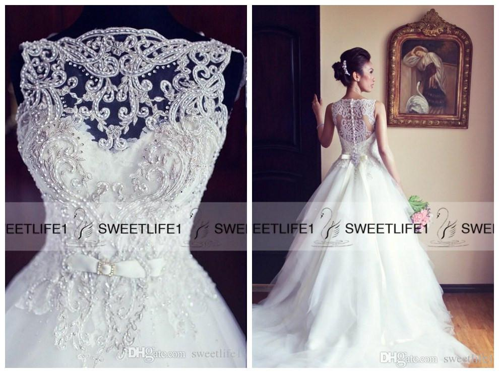 Discount Elegant Lace Wedding Dresses Sweetheart Neck Detachable ...