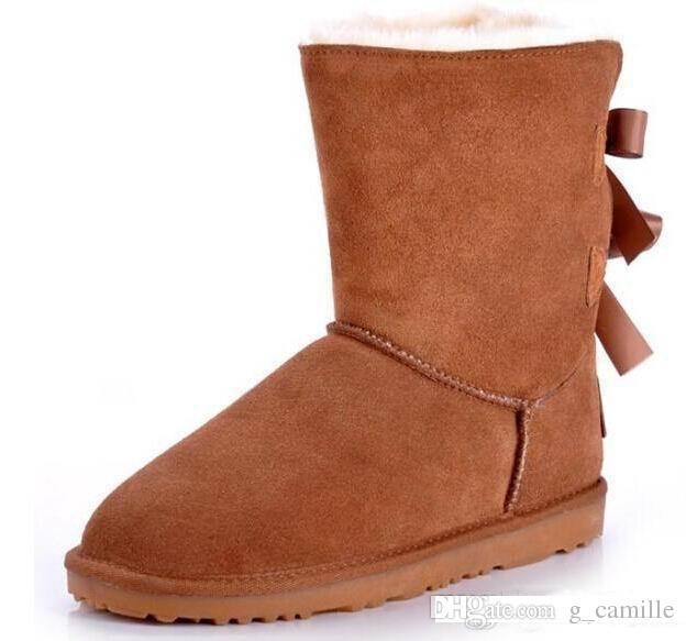 Nouvelles femmes hiver Australie Marque classique bottes d'hiver haute en cuir en cuir véritable Bowknot bottes de neige chaussures