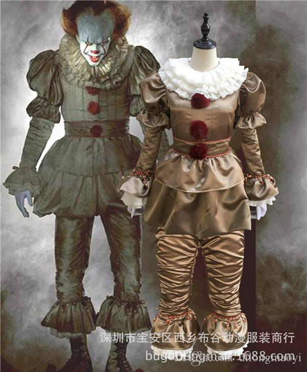 stephen kings it cosplay costume pennywise clown costume suit custom made fancy halloween terror costume for free delivery halloween costumes for five best