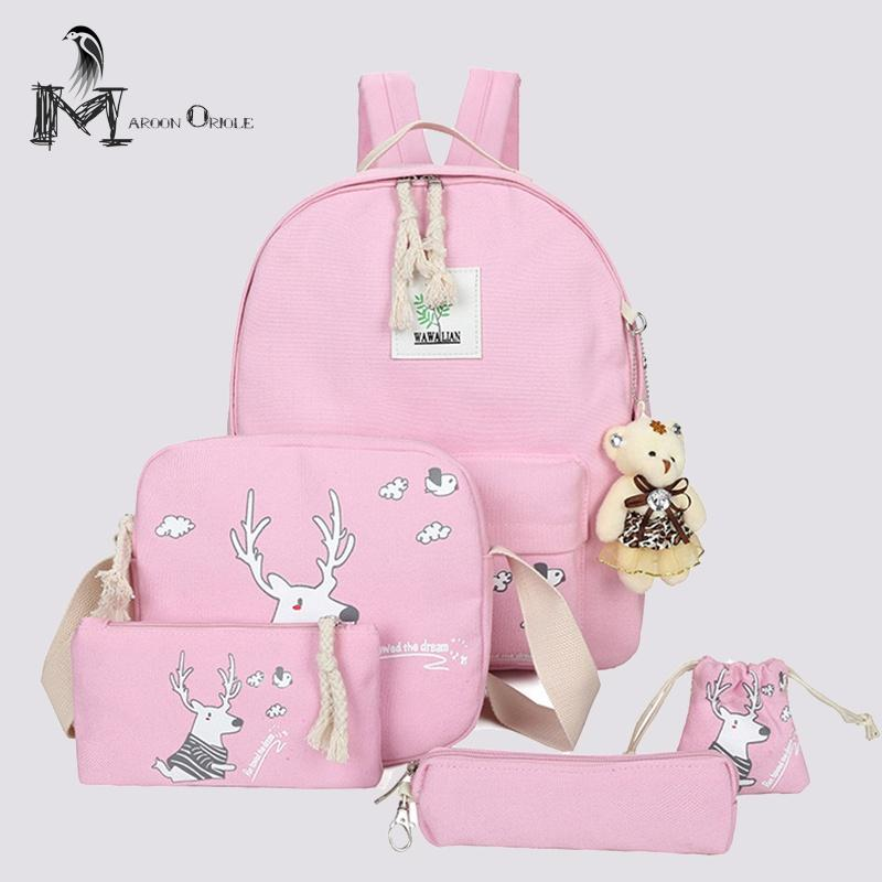 5 in 1 pink canvas backpack sets for kids school bag set animal print deer backpack for girls back to school mini backpack