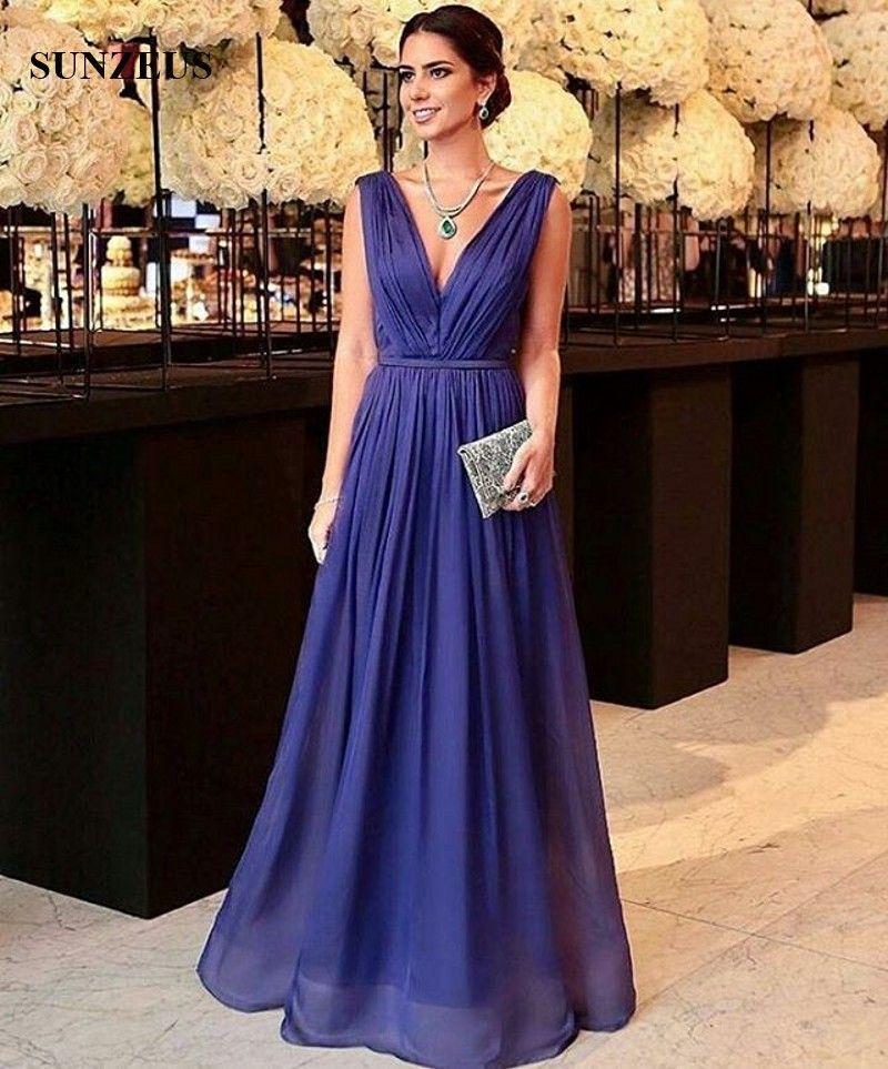 Elegant V Neck Long Chiffon Evening Dresses Pleats Women Formal